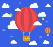 Retro hot air balloon fly sky background — Stock Vector