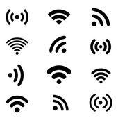 Wireless technology, black web icons set. — Stock Vector