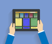 Businessman hands holding modern digital tablet — Stock Vector