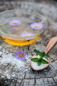 Spa and wellness setting with sea salt — Stock Photo