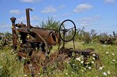 An old junked tractor — Stock Photo