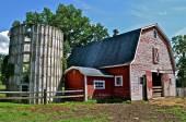 Antiga fazenda de gado leiteiro e celeiro — Fotografia Stock