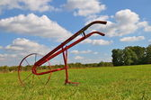 One wheeled old push hoe — Stock Photo