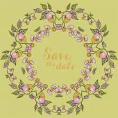Card with floral oranment — Stok Vektör