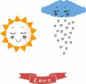 Sun, cloud, rain background — Stock Vector