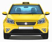 Vector Yellow Taxi Car - Front view - Visible interior version — Wektor stockowy