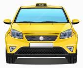 Vector Yellow Taxi Car - Front view — Stock Vector