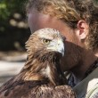 Brown Tawny Eagle portrait with Falconer — Stock Photo #68187727