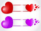 Miłości serca wybuch transparent — Wektor stockowy