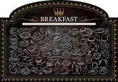 Breakfast on Blackboard — Stock Vector