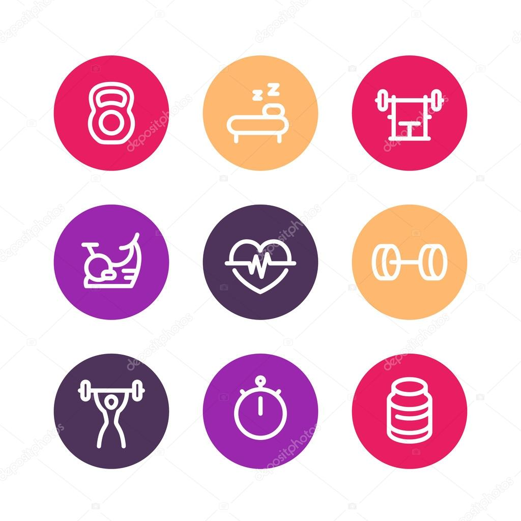 Fitness line icons, thick outline, workout, fitness symbol ...