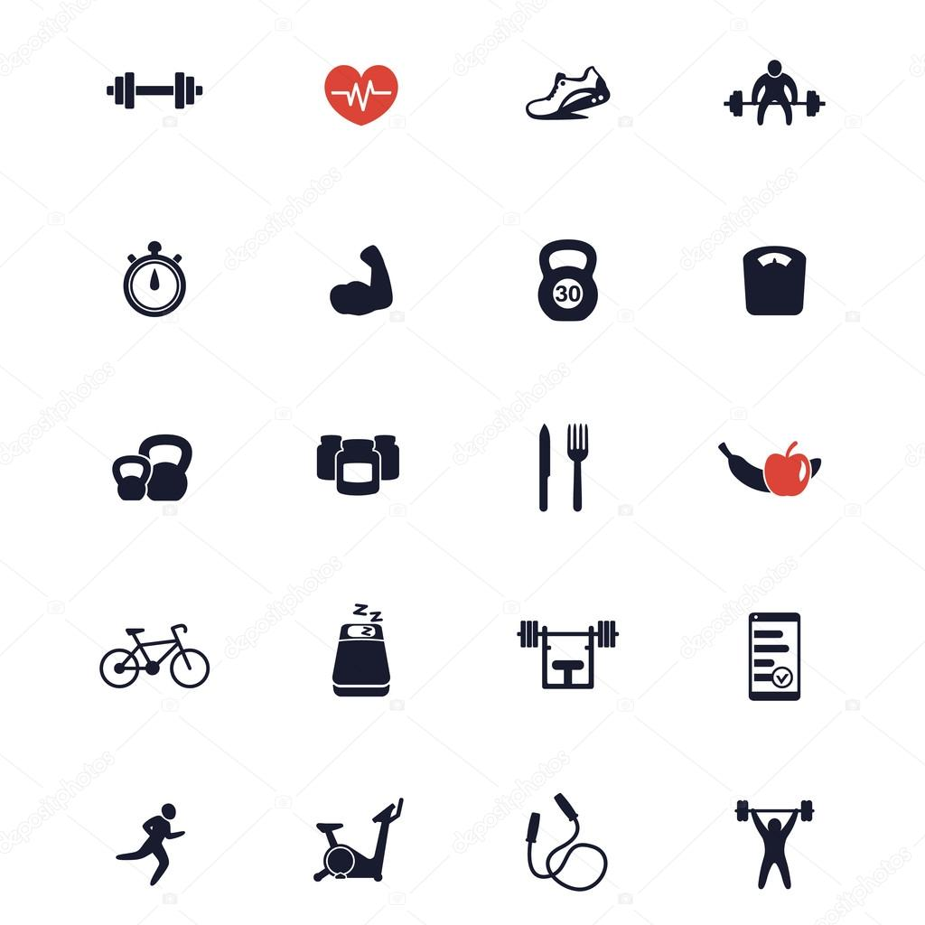 20 fitness icons, active lifestyle, fitness vector icons ...