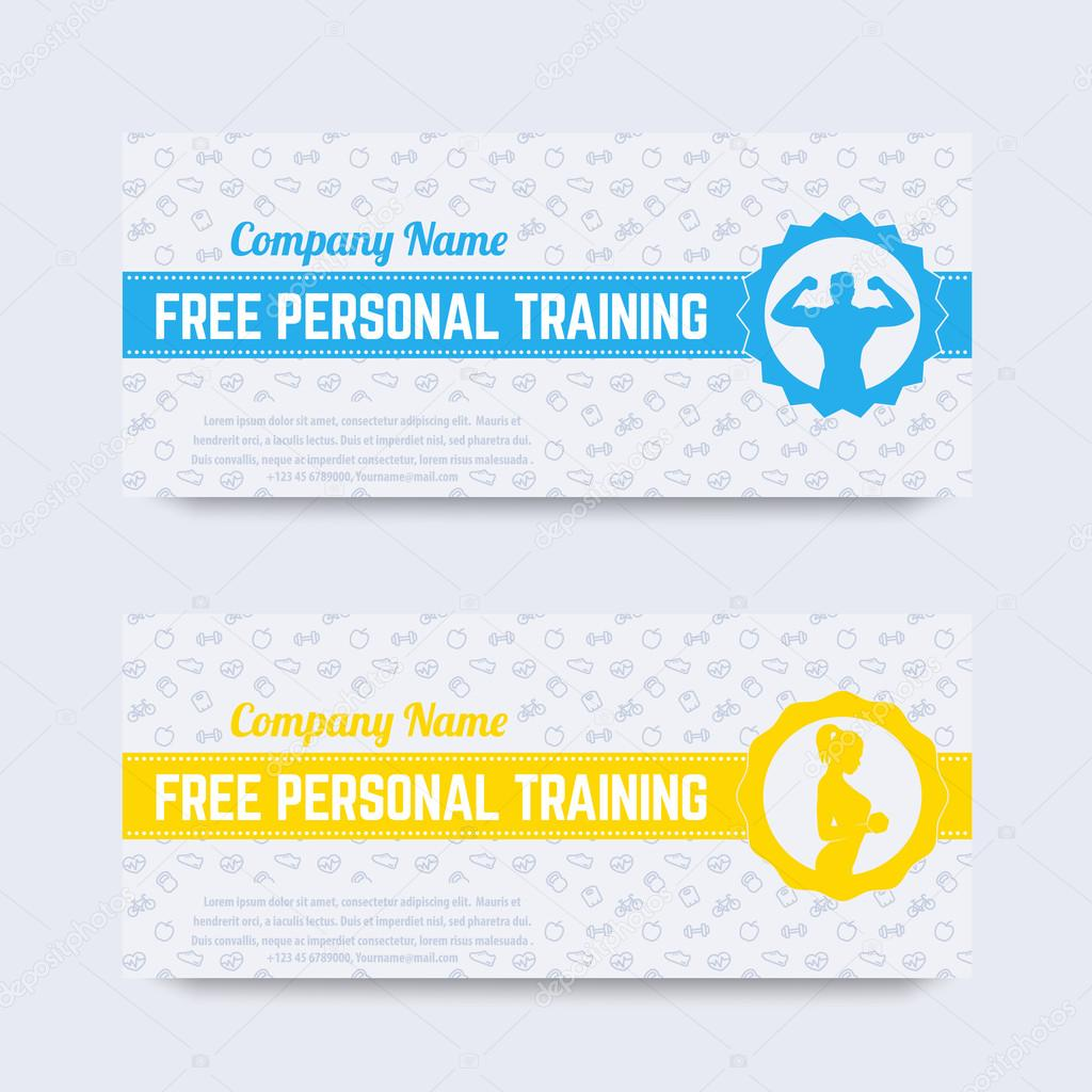 Free personal training gift voucher design for gym fitness club – Design Gift Vouchers Free