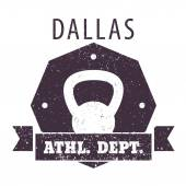 Dallas Athletic dept. t-shirt grunge design with kettlebell — Stock Vector