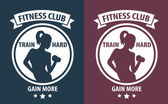 Fitness Club emblem with athletic girl vector illustration — Stock Vector