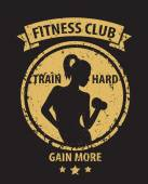Fitness Club grunge emblem with athletic girl — Vector de stock