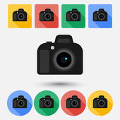 DSLR camera flat icon — Stock Vector