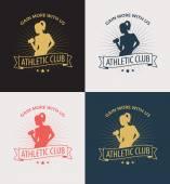 Получить больше с нами эмблема с спортивная(ый) девушка — Cтоковый вектор