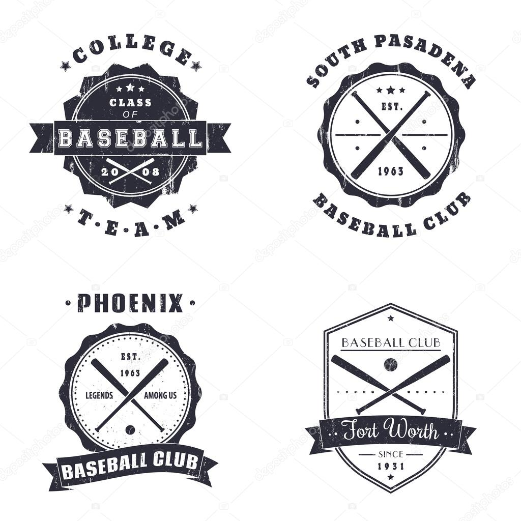 Baseball Vintage Grunge Emblems, Logo, T-Shirt Design — Stock
