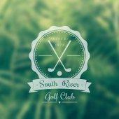 Golf club vintage logo, emblem, sign on blur background — Stockvektor