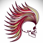 Skull with mohawk. Vector background — Stock Vector