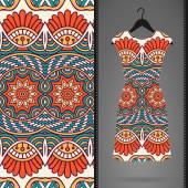 Karta z sukienka i wzór. tło dekoracyjne elementy. ręcznie rysowane tła. — Wektor stockowy