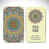 Business card collection. Vintage decorative elements. Hand drawn background. Islam, Arabic, Indian, ottoman motifs. — Stockvector