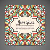 Card. Round Ornament Pattern. Vintage decorative elements. Hand drawn background. Islam, Arabic, Indian, ottoman motifs. — Stockvektor