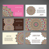 Business card collection. Vintage decorative elements. Hand drawn background. Islam, Arabic, Indian, ottoman motifs. — Stock Vector