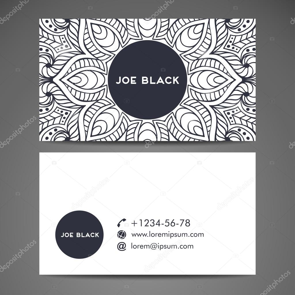 Business Card Vintage Decorative Elements Hand Drawn