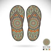 Mandala design of slippers — Stock Vector