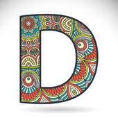 Vintage alphabet letter D — Stock Vector