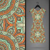 Seamless vector indian pattern, Dress on a hanger — Vector de stock