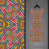 Seamless vector indian pattern, Dress on a hanger — Stock Vector