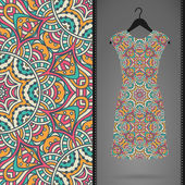 Seamless vector indian pattern, Dress on a hanger — Stock Vector