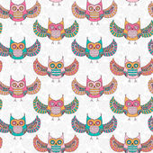 Seamless pattern with cute owls — Stock Vector