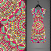 Ethnic floral seamless pattern with dress — Stock Vector