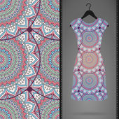 Patrón transparente floral étnico con vestido — Vector de stock