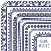 Ethnic hand drawn vector line border set and hipster scribble design element — Stock Vector