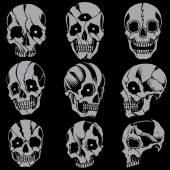 Skulls Old school style Set 01 — Stock Vector