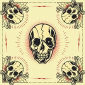Skull bone cross Frame — Stock Vector