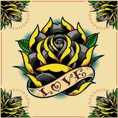 Rose, şerit ve güller çerçevesi — Stok Vektör