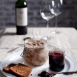 Rabbit meat in a wite wine jelly with chutney — Stock Photo #53393447
