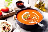 Tomato, red pepper soup, — Stock Photo