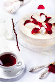 Mousse cake with red berries topping — Stock Photo