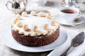 Traditional English Easter cake with marzipan — Stock Photo