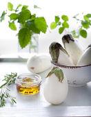 White aggplants with fresh rosemary — Stock Photo