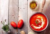 Tomato, red pepper soup, — Stockfoto