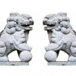 Chinese stone lion with globe isolated on white. — Stock Photo #60128233