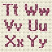 Cross stitch alphabet and number. — Stock Vector